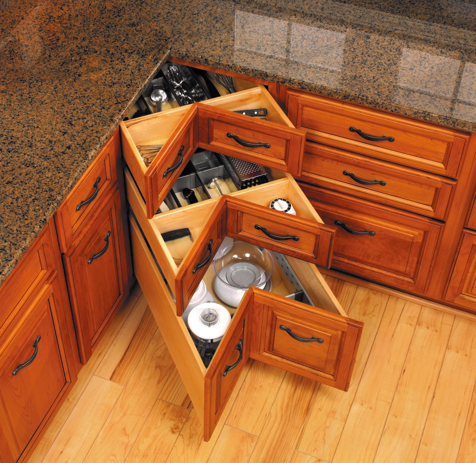 CONESTOGA HAS MADE KITCHEN CORNER STORAGE EASY AS PIE